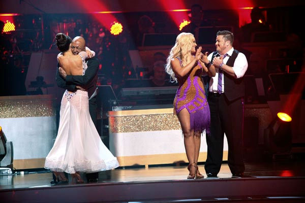&#39;All My Children&#39; actor and Iraq War veteran J.R. Martinez and his partner Karina Smirnoff react to being safe on &#39;Dancing With The Stars: The Results Show&#39; on Tuesday, September 20, 2011. The pair received 22 out of 30 from the judges for their Viennese Waltz on the season premiere of &#39;Dancing With The Stars.&#39; <span class=meta>(ABC Photo&#47; Adam Taylor)</span>