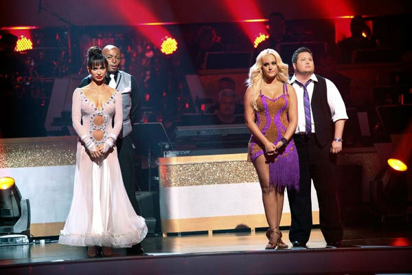 'All My Children' actor and Iraq War veteran J.R. Martinez and his partner Karina Smirnoff await possible elimination on 'Dancing With The Stars: The Results Show' on Tuesday, September 20, 2011. The pair rec