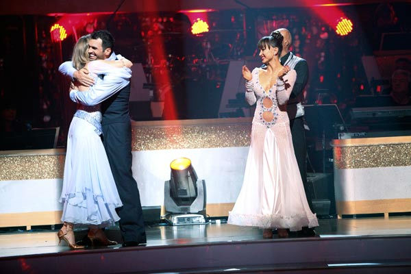 Singer Chynna Phillips and her partner Tony Dovolani react to being safe from elimination on 'Dancing With The Stars: The Results Show' on Tuesday, September 20, 2011. The pair received 22 out of
