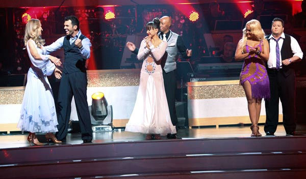 Singer Chynna Phillips and her partner Tony Dovolani react to being safe from elimination on 'Dancing With The Stars: The Results Show' on Tuesday, September 20, 2011. The pair received 22 out of 30 from the judges for their Viennese Waltz on