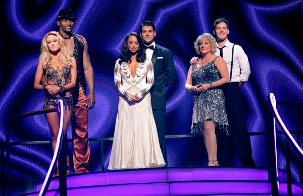 'Keeping Up With The Kardashians' star Rob Kardashian and his partner Cheryl Burke await possible elimination on 'Dancing With The Stars: The Results Show' on Tuesday, September 20, 2011. The pair received 16 out of 30 from th
