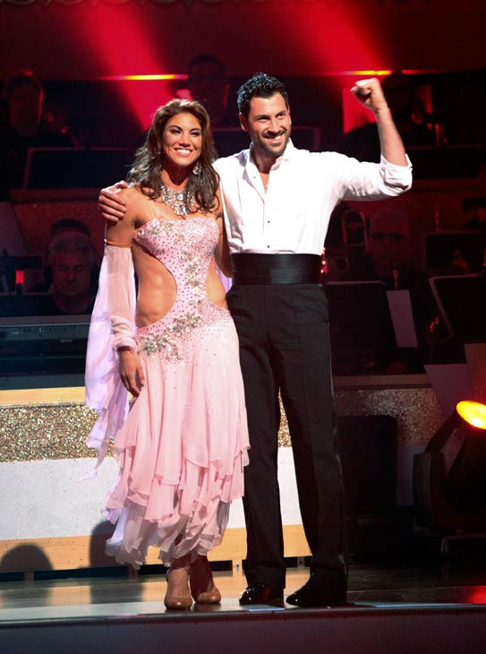 U.S. soccer star Hope Solo and her partner Maksim Chmerkovskiy react to being safe from elimination on &#39;Dancing With The Stars: The Results Show&#39; on Tuesday, September 20, 2011. The pair received 21 out of 30 from the judges for their Viennese Waltz on the season premiere of &#39;Dancing With The Stars.&#39; <span class=meta>(ABC Photo&#47; Adam Taylor)</span>