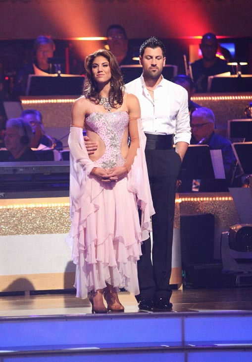 U.S. soccer star Hope Solo and her partner Maksim Chmerkovskiy await possible elimination on 'Dancing With The Stars: The Results Show' on Tuesday, September 20, 2011. The pair received 21 out of 30 from the judges for their Viennese Waltz on the season p