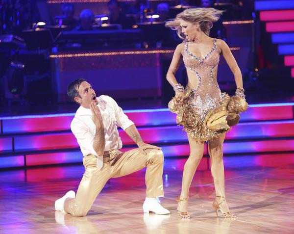 "<div class=""meta ""><span class=""caption-text "">Actor David Arquette and his partner Kym Johnson received 18 out of 30 from the judges for their Jive on the September 26 episode of 'Dancing With The Stars.' (ABC Photo)</span></div>"