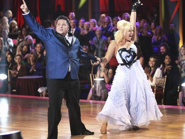 "<div class=""meta image-caption""><div class=""origin-logo origin-image ""><span></span></div><span class=""caption-text"">LGBT activist Chaz Bono and his partner Lacey Schwimmer received 17 out of 30 from the judges for their Quickstep on the September 26 episode of 'Dancing With The Stars.' (ABC Photo)</span></div>"