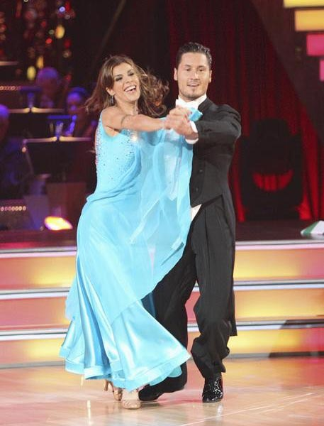 "<div class=""meta ""><span class=""caption-text "">Italian model and actress Elisabetta Canalis and her partner Valentin Chmerkovskiy, brother of Maksim Chmerkovskiy, received 21 out of 30 from the judges for their Quickstep on the September 26 episode of 'Dancing With The Stars.' (ABC Photo)</span></div>"