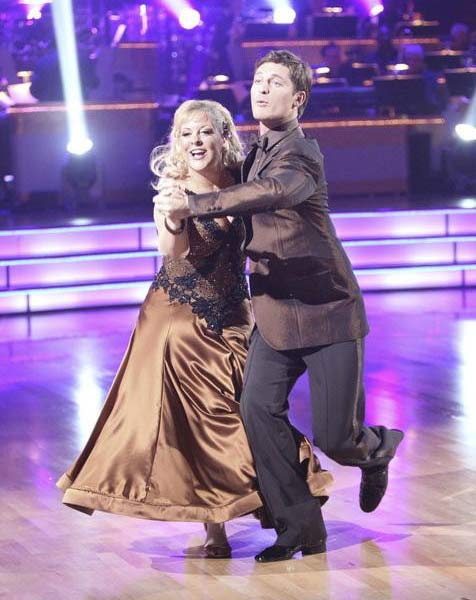 Television host Nancy Grace and her partner Tristan Macmanus appear on 'Dancing With The Stars' on Monday, Sept. 26, 2011, for the 13th season's second round of performances.
