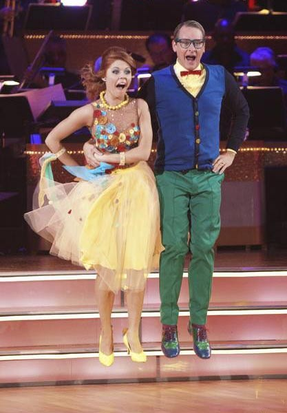 Television personality Carson Kressley and his partner Anna Trebunskaya received 18 out of 30 from the judges for their Quickstep on the September 26 episode of 'Dancing With The Stars.'