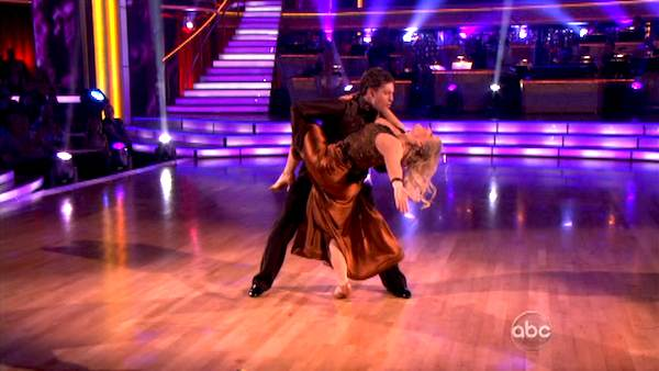 Television host Nancy Grace and her partner Tristan Macmanus received 21 out of 30 from the judges for their Quickstep on the September 26 episode of 'Dancing With The Stars.'