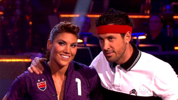 "<div class=""meta ""><span class=""caption-text "">U.S. soccer star Hope Solo and her partner Maksim Chmerkovskiy appear on 'Dancing With The Stars' on Monday, Sept. 26, 2011, for the 13th season's second round of performances. (ABC Photo)</span></div>"