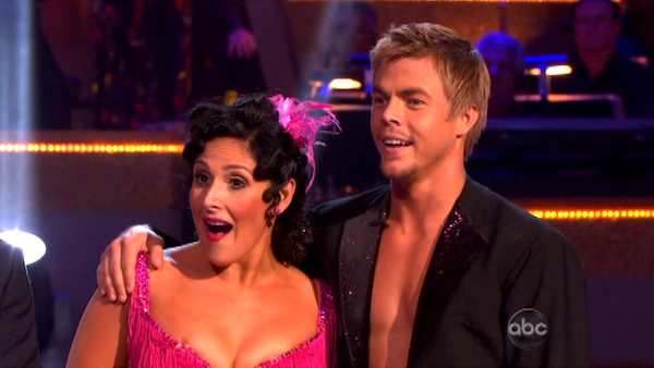 Talk show host and actress Ricki Lake and her partner Derek Hough appear on 'Dancing With The Stars' on Monday, Sept. 26, 2011, for the 13th season's second round of performances.