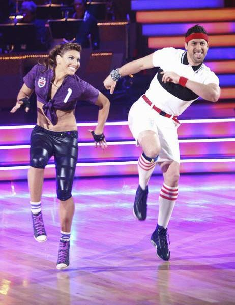 "<div class=""meta image-caption""><div class=""origin-logo origin-image ""><span></span></div><span class=""caption-text"">U.S. soccer star Hope Solo and her partner Maksim Chmerkovskiy received 16 out of 30 from the judges for their Jive on the September 26 episode of 'Dancing With The Stars.' (ABC Photo)</span></div>"