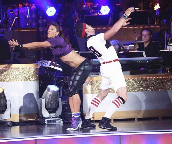 "<div class=""meta ""><span class=""caption-text "">U.S. soccer star Hope Solo and her partner Maksim Chmerkovskiy received 16 out of 30 from the judges for their Jive on the September 26 episode of 'Dancing With The Stars.' (ABC Photo)</span></div>"