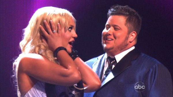 LGBT activist Chaz Bono and his partner Lacey Schwimmer react to being safe on 'Dancing With The Stars: The Results Show' on Tuesday, September 27, 2011. The pair 17 out of 30 from the judges for their Quickstep on the September 26 episode of 'Dancing Wit
