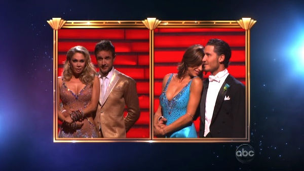 Italian model and actress Elisabetta Canalis, her partner Valentin Chmerkovskiy, David Arquette and his partner Kym Johnson await possible elimination on &#39;Dancing With The Stars: The Result Show&#39; on Tuesday, September 27, 2011. <span class=meta>(ABC Photo)</span>