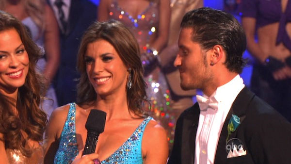 Italian model and actress Elisabetta Canalis and her partner Valentin Chmerkovskiy react to being eliminated on 'Dancing With The Stars: The Results Show' on Tuesday, September 27, 2011. The pair received 21 out of 30 from the judges for their Quickstep o