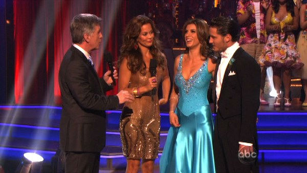Italian model and actress Elisabetta Canalis and her partner Valentin Chmerkovskiy react to being eliminated on &#39;Dancing With The Stars: The Results Show&#39; on Tuesday, September 27, 2011. The pair received 21 out of 30 from the judges for their Quickstep on the September 26 episode of &#39;Dancing With The Stars.&#39; <span class=meta>(ABC Photo)</span>
