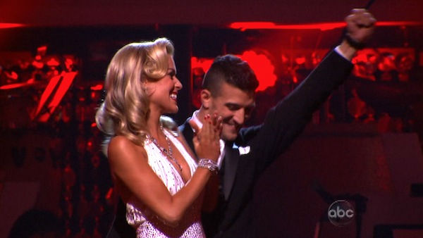 Reality Star Kristin Cavallari and her partner Mark Ballas react to being safe from elimination on 'Dancing With The Stars: The Results Show' on Tuesday, September 27, 2011. The pair received 22 out of 30 from the judges for their Quick Step on the Septem
