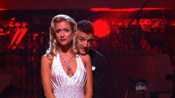 "<div class=""meta ""><span class=""caption-text "">Reality Star Kristin Cavallari and her partner Mark Ballas await possible elimination on 'Dancing With The Stars: The Results Show' on Tuesday, September 27, 2011. The pair received 22 out of 30 from the judges for their Quick Step on the September 26 episode of 'Dancing With The Stars.' (ABC Photo)</span></div>"
