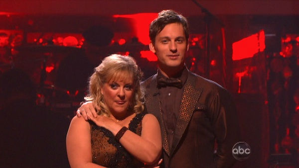 Nancy Grace and her partner Tristan Macmanus await possible elimination on &#39;Dancing With The Stars: The Result Show&#39; on Tuesday, September 27, 2011. The pair received 21 out of 30 from the judges for their Quickstep on the September 26 episode of &#39;Dancing With The Stars.&#39; <span class=meta>(ABC Photo)</span>