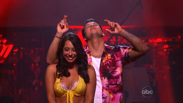 "<div class=""meta ""><span class=""caption-text "">'Keeping Up With The Kardashians' star Rob Kardashian and his partner Cheryl Burke await possible elimination on 'Dancing With The Stars: The Results Show' on Tuesday, September 27, 2011. The pair received 21 out of 30 from the judges for their Jive on the September 26 episode of 'Dancing With The Stars. (ABC Photo)</span></div>"