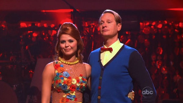 "<div class=""meta ""><span class=""caption-text "">Television personality Carson Kressley and his partner Anna Trebunskaya await possible elimination on 'Dancing With The Stars: The Results Show' on Tuesday, September 27, 2011. The pair received 18 out of 30 from the judges for their Quickstep on the September 26 episode of 'Dancing With The Stars.' (ABC Photo)</span></div>"
