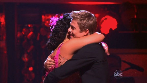 Talk show host and actress Ricki Lake and her partner Derek Hough react to being safe on 'Dancing With The Stars: The Results Show' on Tuesday, September 27, 2011. The pair received 20 out of 30 from the judges for their Jive on the September 26 episode o