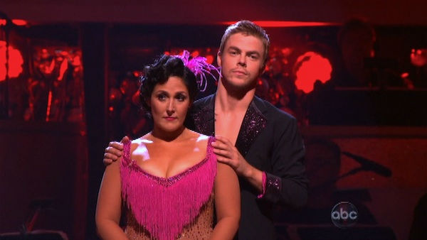 Talk show host and actress Ricki Lake and her partner Derek Hough await possible elimination on &#39;Dancing With The Stars: The Results Show&#39; on Tuesday, September 27, 2011. The pair received 20 out of 30 from the judges for their Jive on the September 26 episode of &#39;Dancing With The Stars.&#39; <span class=meta>(ABC Photo)</span>