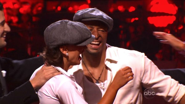&#39;All My Children&#39; actor and Iraq War veteran J.R. Martinez and his partner Karina Smirnoff react to being safe on &#39;Dancing With The Stars: The Results Show&#39; on Tuesday, September 27, 2011. The pair received 22 out of 30 from the judges for their Jive on the September 26 episode &#39;Dancing With The Stars.&#39; <span class=meta>(ABC Photo)</span>