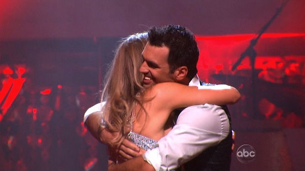 Singer Chynna Phillips and her partner Tony Dovolani react to being safe from elimination on &#39;Dancing With The Stars: The Results Show&#39; on Tuesday, September 27, 2011. The pair received 21 out of 30 from the judges for their Jive on the September 26 episode &#39;Dancing With The Stars.&#39; <span class=meta>(ABC Photo)</span>
