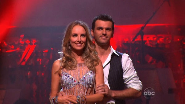 Singer Chynna Phillips and her partner Tony Dovolani await possible elimination on 'Dancing With The Stars: The Results Show' on Tuesday, September 27, 2011. The pair received 21 out of 30 from the judges for their Jive on the September 26 episode 'Dancin