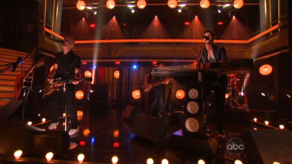 The Script played on the &#39;Dancing With The Stars&#39; stage with a live performance of &#39;For the First Time.&#39; The song is off their sophomore album &#39;Science &#38; Faith&#39; on &#39;Dancing With The Stars: The Result Show&#39; on Tuesday, September 27, 2011. <span class=meta>(ABC Photo)</span>