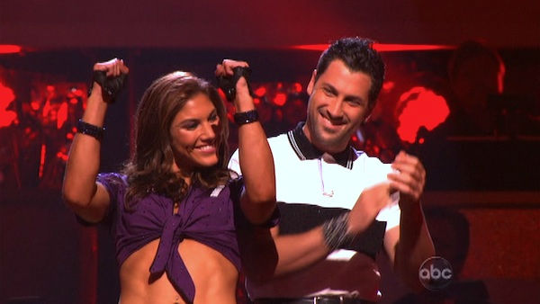 U.S. soccer star Hope Solo and her partner Maksim Chmerkovskiy react to being safe from elimination on 'Dancing With The Stars: The Results Show' on Tuesday, September 27, 2011. The pair received 16 out of 30 from the judges for their Jive on the Septembe