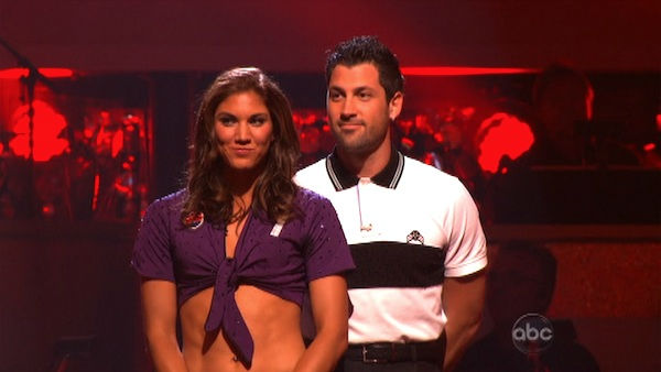 U.S. soccer star Hope Solo and her partner Maksim Chmerkovskiy await possible elimination on 'Dancing With The Stars: The Results Show' on Tuesday, September 27, 2011. The pair received 16 out of 30 from the judges for their Jive on the September 26 episo