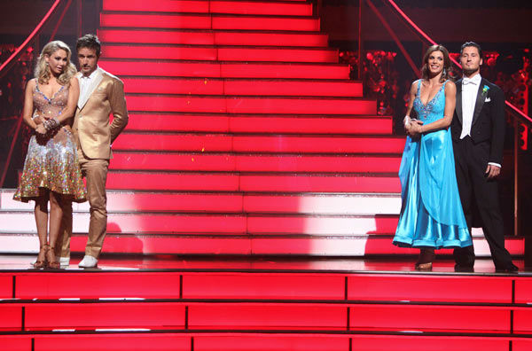 Italian model and actress Elisabetta Canalis, her partner Valentin Chmerkovskiy, David Arquette and his partner Kym Johnson await possible elimination on &#39;Dancing With The Stars: The Result Show&#39; on Tuesday, September 27, 2011. <span class=meta>(ABC Photo&#47; Adam Taylor)</span>