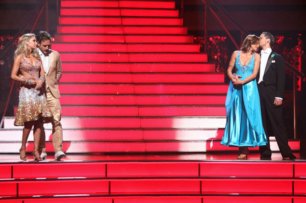 "<div class=""meta ""><span class=""caption-text ""> Italian model and actress Elisabetta Canalis and her partner Valentin Chmerkovskiy react to being eliminated on 'Dancing With The Stars: The Results Show' on Tuesday, September 27, 2011. The pair received 21 out of 30 from the judges for their Quickstep on the September 26 episode of 'Dancing With The Stars.'  (ABC Photo/ Adam Taylor)</span></div>"