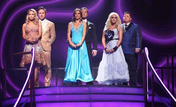 Italian model and actress Elisabetta Canalis, her partner Valentin Chmerkovskiy, David Arquette and his partner Kym Johnson, Chaz Bono and his partner Lacey Schwimmer await possible elimination on &#39;Dancing With The Stars: The Result Show&#39; on Tuesday, September 27, 2011. <span class=meta>(ABC Photo&#47; Adam Taylor)</span>