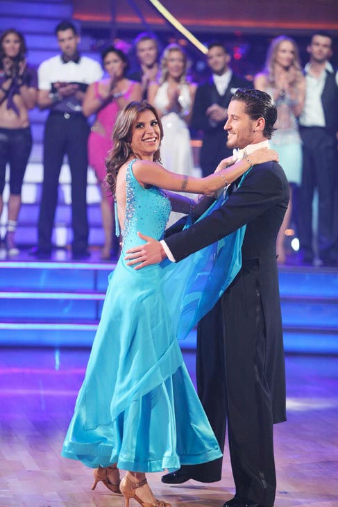 Italian model and actress Elisabetta Canalis and her partner Valentin Chmerkovskiy react to being eliminated on 'Dancing With The Stars: The Results Show' on Tuesday, September 27, 2011. The pair received 21 out of 30 from the judges for the