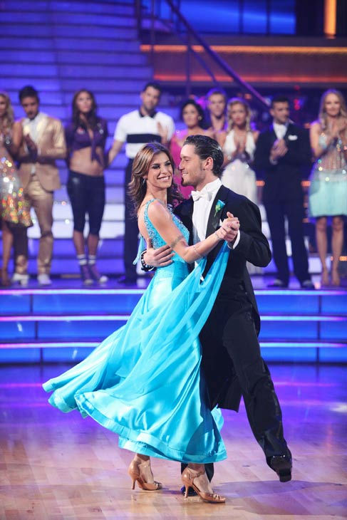 Italian model and actress Elisabetta Canalis and her partner Valentin Chmerkovskiy react to being eliminated on 'Dancing With The Stars: The Results Show' on Tuesday