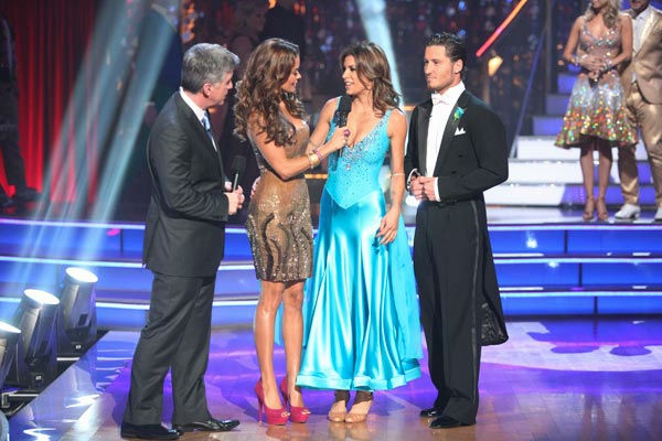 Italian model and actress Elisabetta Canalis and her partner Valentin Chmerkovskiy react to being eliminated on &#39;Dancing With The Stars: The Results Show&#39; on Tuesday, September 27, 2011. The pair received 21 out of 30 from the judges for their Quickstep on the September 26 episode of &#39;Dancing With The Stars.&#39;  <span class=meta>(ABC Photo&#47; Adam Taylor)</span>