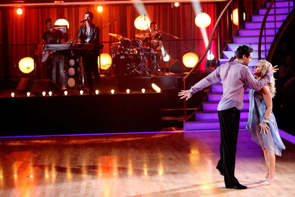 Returning professionals Chelsie Hightower and Dmitry Chaplin dance while The Script does a live performance of &#39;For the First Time.&#39; The song is off their sophomore album &#39;Science &#38; Faith&#39; on &#39;Dancing With The Stars: The Result Show&#39; on Tuesday, September 27, 2011. <span class=meta>(ABC Photo&#47; Adam Taylor)</span>