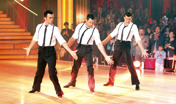 "<div class=""meta ""><span class=""caption-text "">All nine male 'Dancing With The Stars' professionals and troupe members perform on 'Dancing With The Stars: The Result Show' on Tuesday, September 27, 2011. (ABC Photo/ Adam Taylor)</span></div>"