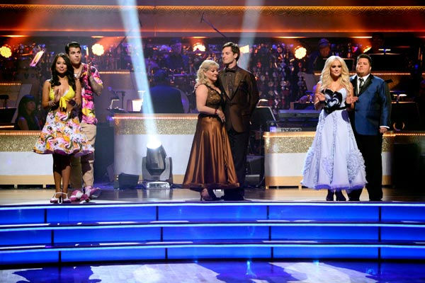 "<div class=""meta ""><span class=""caption-text "">Rob Kardashian and his partner Cheryl Burke, Nancy Grace and her partner Tristan Macmanus, Chaz Bono and his partner Lacey Schwimmer await possible elimination on 'Dancing With The Stars: The Results Show' on Tuesday, September 27, 2011. (ABC Photo/ Adam Taylor)</span></div>"