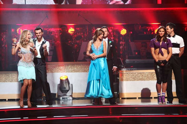 Singer Chynna Phillips and her partner Tony Dovolani react to being safe from elimination on 'Dancing With The Stars: The Results Show' on Tuesday, September 27, 2011. The pair received 21 out of 30 from the judges for their Jive on the September 26 episo