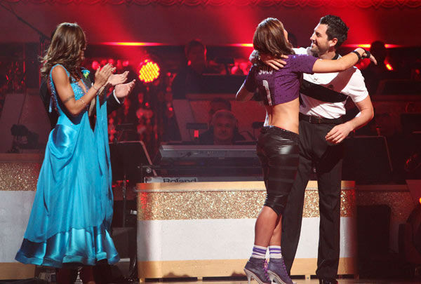 U.S. soccer star Hope Solo and her partner Maksim Chmerkovskiy react to being safe from elimination on &#39;Dancing With The Stars: The Results Show&#39; on Tuesday, September 27, 2011. The pair received 16 out of 30 from the judges for their Jive on the September 26 episode of &#39;Dancing With The Stars.&#39; <span class=meta>(ABC Photo&#47; Adam Taylor)</span>