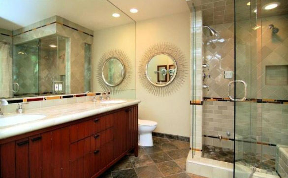 The master bathroom in 'Gossip Girl' actress Leighton Meester's new Encino, California home. The 2,847 square feet property is located on a lush hillside and has 4 bedrooms, 4.5 bathrooms, a black-bottomed pool and pool bar. The one-story house was built