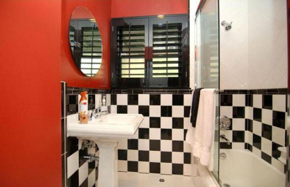 The guest bathroom in 'Gossip Girl' actress Leighton Meester's new Encino, California home. The 2,847 square feet property is located on a lush hillside and has 4 bedrooms, 4.5 bathrooms, a black-bottomed pool and pool bar. The one-story house was built i