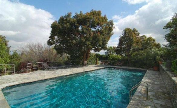 The swimming pool in &#39;Gossip Girl&#39; actress Leighton Meester&#39;s new Encino, California home. The 2,847 square feet property is located on a lush hillside and has 4 bedrooms, 4.5 bathrooms, a black-bottomed pool and pool bar. The one-story house was built in 1948 and was recently renovated.  <span class=meta>(Photo&#47;Realtor.com)</span>
