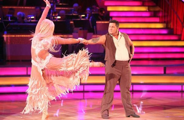 "<div class=""meta image-caption""><div class=""origin-logo origin-image ""><span></span></div><span class=""caption-text"">LGBT activist Chaz Bono and his partner Lacey Schwimmer received 18 points out of 30 from the judges for their Rumba on the October 3 episode of 'Dancing With The Stars.' (ABC Photo)</span></div>"