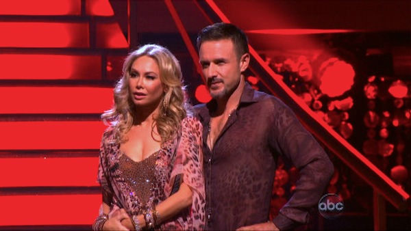 "<div class=""meta image-caption""><div class=""origin-logo origin-image ""><span></span></div><span class=""caption-text"">Actor David Arquette and his partner Kym Johnson await possible elimination on 'Dancing With The Stars: The Results Show' on Tuesday, October 4, 2011. The pair received 24 out of 30 from the judges for their Rumba on the October 3 episode of 'Dancing With The Stars.' (ABC Photo)</span></div>"